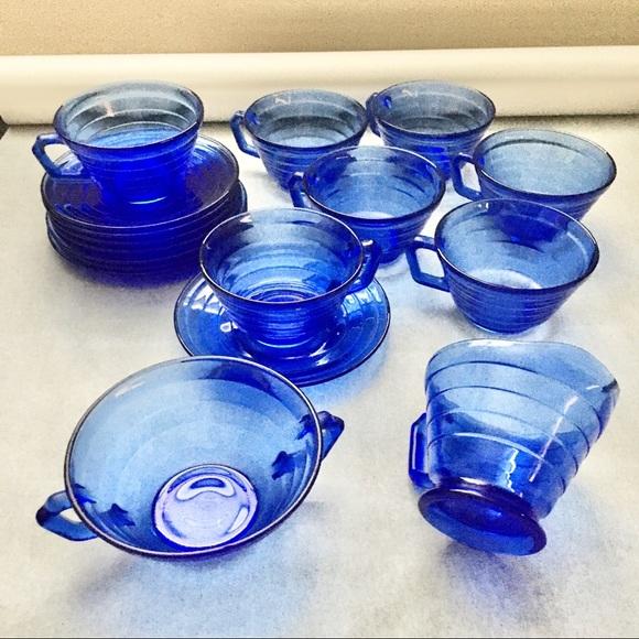 SOLD Vintage Hazel Atlas Blue Depression Glassware